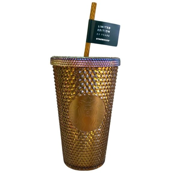 Starbucks Tumbler Anniversary Gold Studded Cup NEW
